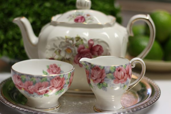 Antique China Teapot Creamer and Sugar - Downsizing Full Time RVing