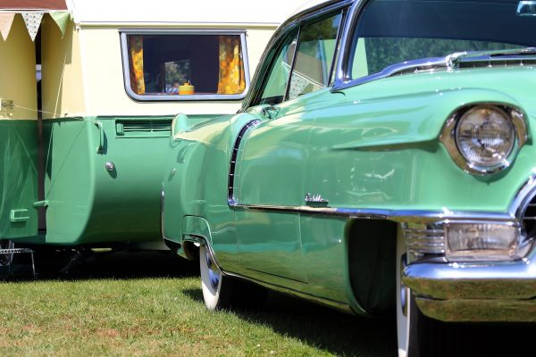 Green Car and Vintage Camper - Chuck and Sandi